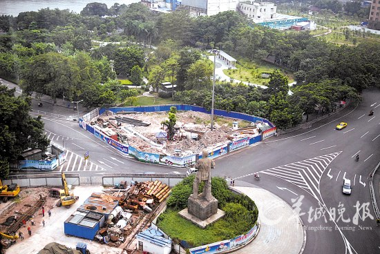 海珠广场因地铁施工被围蔽多年羊城晚报记者艾修煜摄-广州昔日八景图片