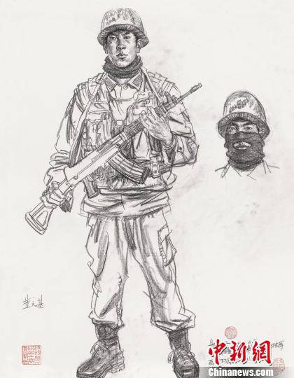 吴长江/画家吴长江2011年在新疆塔什库尔干红其拉甫画边防连战士速写。