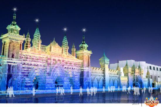 哈尔滨冰雪大世界 打造 林海雪原动漫天地