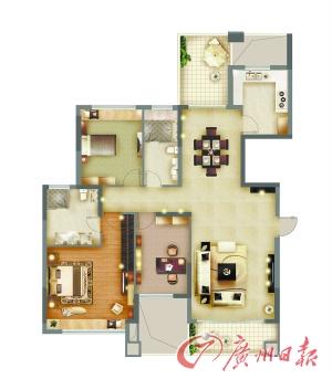 135平方米 三房两厅户型图