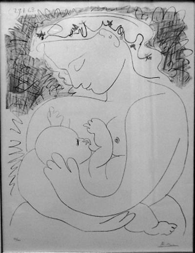 毕加索石版画 母爱 首现中国 高清图片