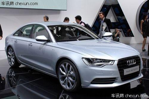 新奥迪a6混合动力版前脸造型具备奥迪全新的家族特征,该车高清图片