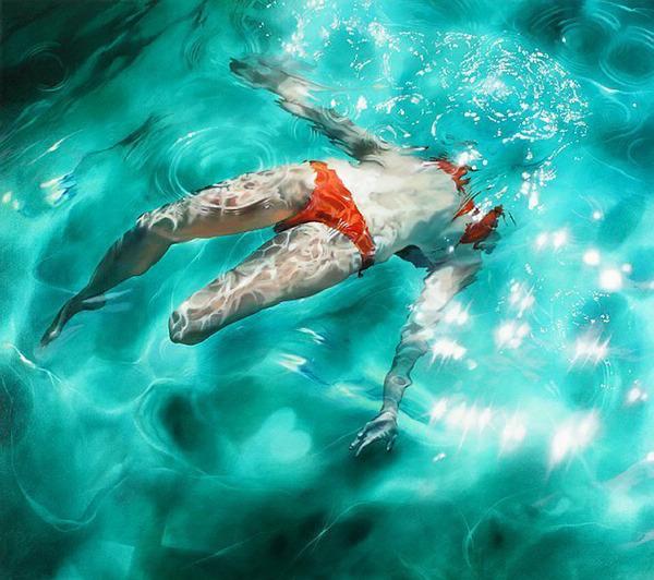 手绘插画:水中舞