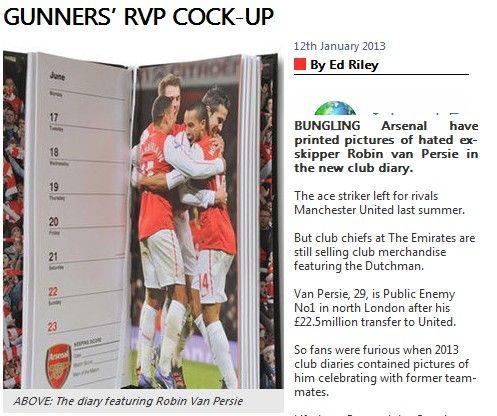 阿森纳新年日记摆乌龙 范佩西上图集引球迷不满