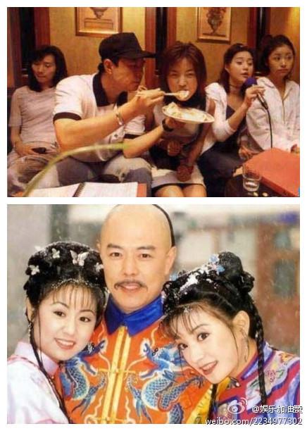 《还珠格格》剧组旧照-张铁林是赵薇暗恋对象 皇阿玛 喂食照印证
