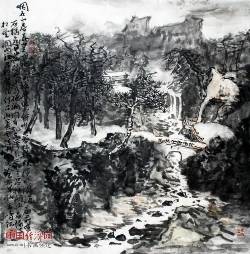 孟鸣山水国画作品欣赏
