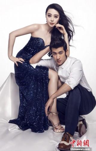 《一夜惊喜》男女主角范冰冰和李治廷联袂的杂志封面陆续出街,近日