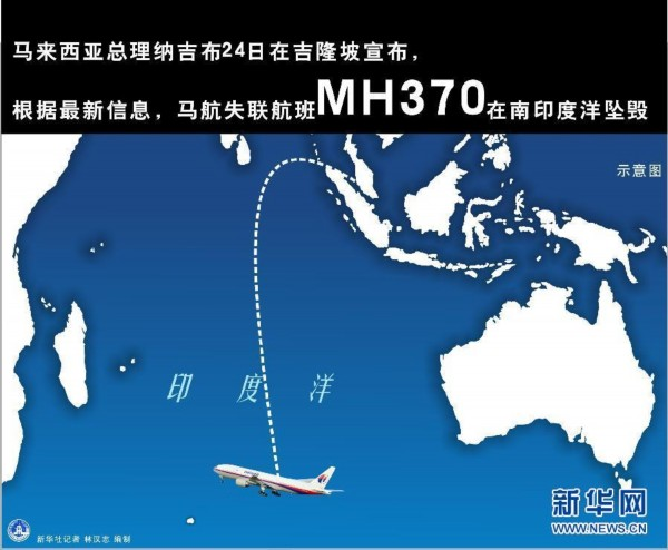 马航失联航班MH370在南印度洋坠毁(图表)_新