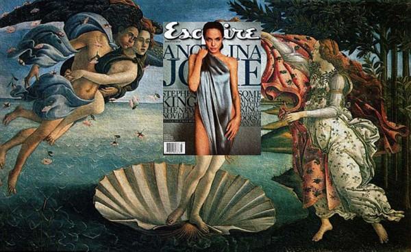 安吉丽娜朱莉取代了意大利画家波提切利(Botticelli)名画《维纳斯诞生》中的维纳斯。(网页截图)   国际在线专稿:据英国《每日邮报》9月10日报道,当流行文化与古典名画碰撞时会产生什么?菲律宾28岁艺术家艾森伯纳德伯纳多(Eisen Bernard Bernado)利用当代名人在著名杂志封面上的照片与古典肖像画无缝结合,创作出一种被称为Mag + Art的新式艺术。   伯纳多的作品包括:好莱坞女星安吉丽娜朱莉(Angelina Jolie)的照片取代了意大利画家波提切利(Bottic