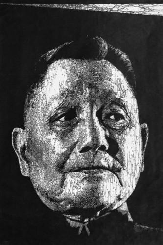 家代大权创作的黑白木刻版画《顽强的希望》.本栏图片均由记者 -