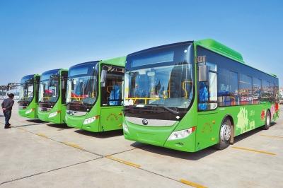 首批混合动力 公交车 抵洛阳 年底将有300辆上路高清图片