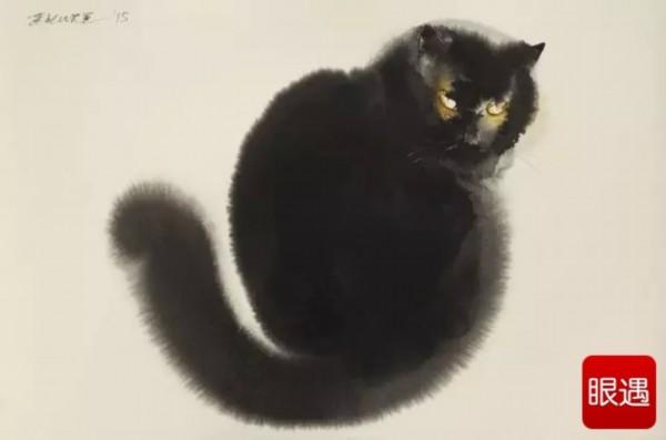 penovac用水墨画这种同样古典的方式,画出优雅的黑色猫咪.