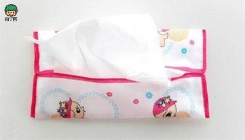 用手帕制作简单柔软的布艺纸巾盒diy方法图解
