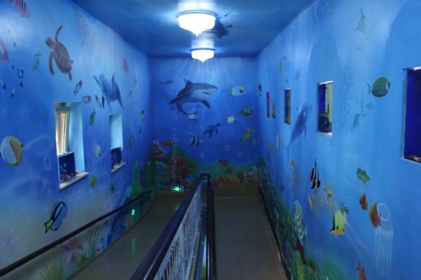 """幼儿园墙壁上的""""海洋世界"""""""