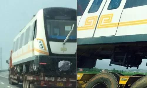 地铁 郑州/郑州地铁2号线车厢运往洛阳设计时速达80公里