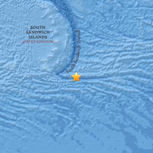 南桑威奇群岛发生5.3级地震 震源深度10公里(