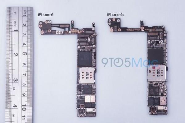 主板对比(图片引自9to5Mac)   另外,可以看到最新的A9芯片也比目前iPhone 6上的A8芯片大了不少,这与此前曾传出的更小尺寸处理器传言相悖。   编辑点评:苹果iPhone 6s三级按压触屏的传言显得有点科幻、可信度不高甚至这一功能有些多余,但苹果Apple Watch上两级按压的操作方式却得到了认可。这一操作方式可为用户省去一些多余的步骤,令操作更加方便快捷。北京时间9月10日凌晨1点,国美卖场将联合中关村在线对苹果秋季发布会进行图文及视频直播,在直播中我们也将为幸运用户送出神秘奖品,敬