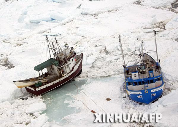 4月19日,两艘加拿大渔船被冰雪冻结在纽芬兰岛东海岸附近的海面上.