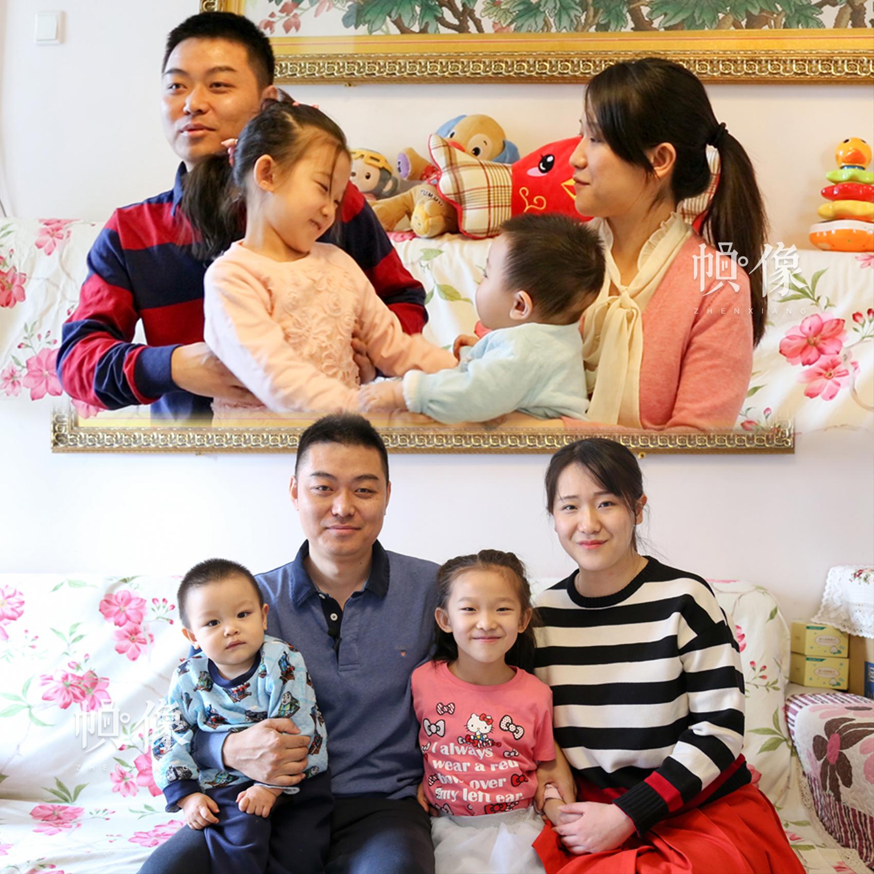 二孩家庭在2017年3月与2017年12月分别接受中国网记者专访,图为两次采访对比。中国网实习记者 朱珊杉 摄