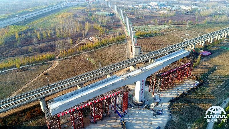 国内首座万吨级曲线高铁T构桥跨越京广高铁成功转体