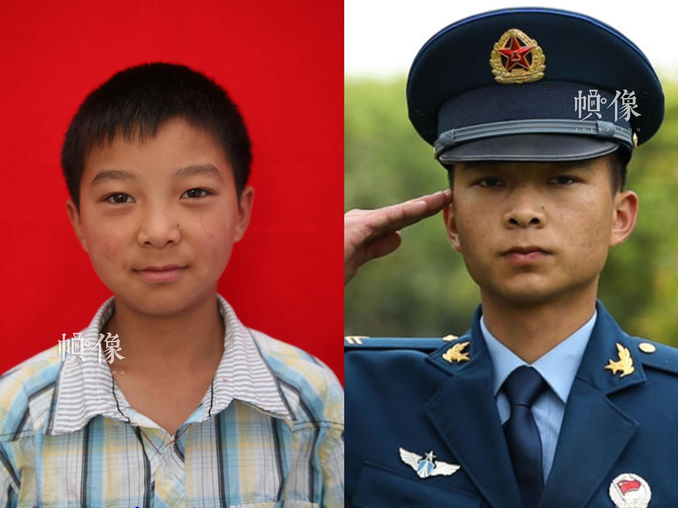 """512地震孤兒小林10年前與現在的對比照,在""""安康家園""""生活了九年時間。如今他已是一名軍人。安康家園供圖(左),祁 攝(右)"""