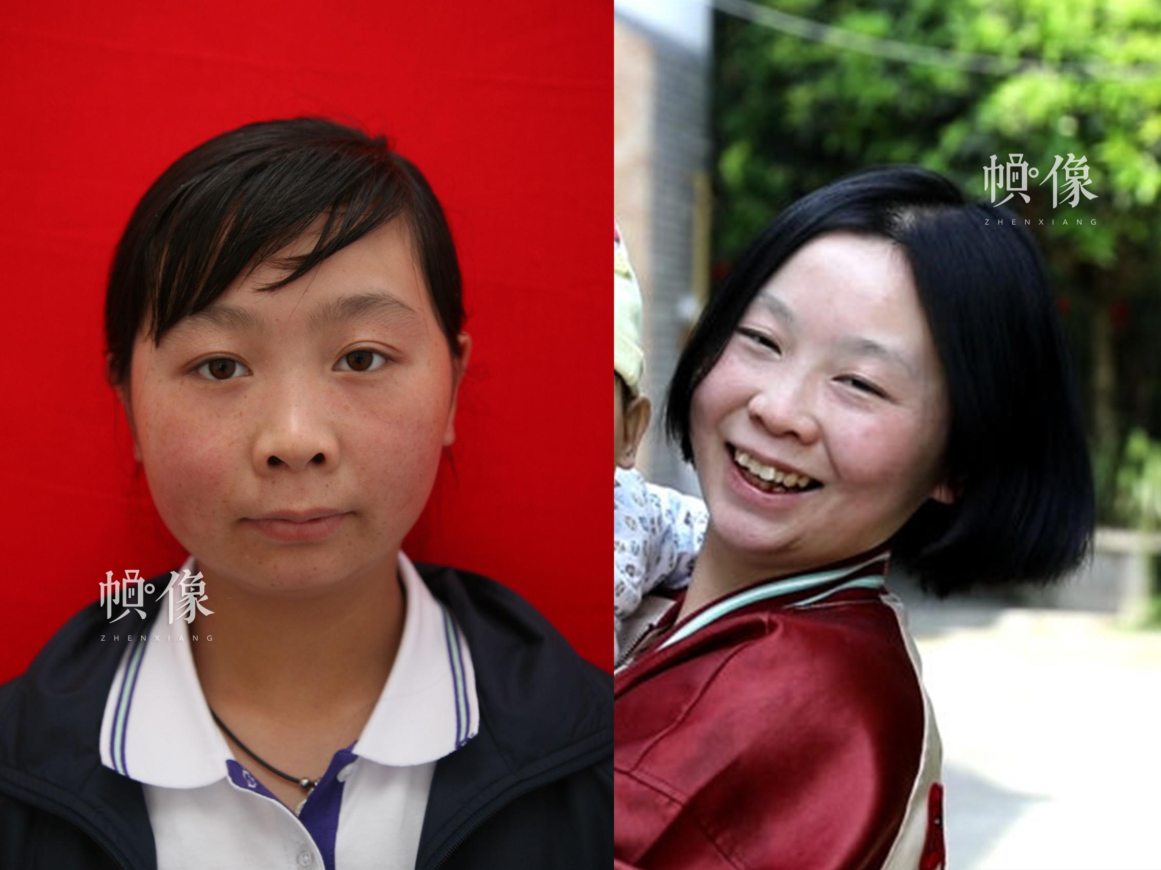 512地震孤兒趙花容10年前與現在的對比照,如今她已經結婚生子,有一個可愛的寶寶。安康家園供圖(左),祁 攝(右)