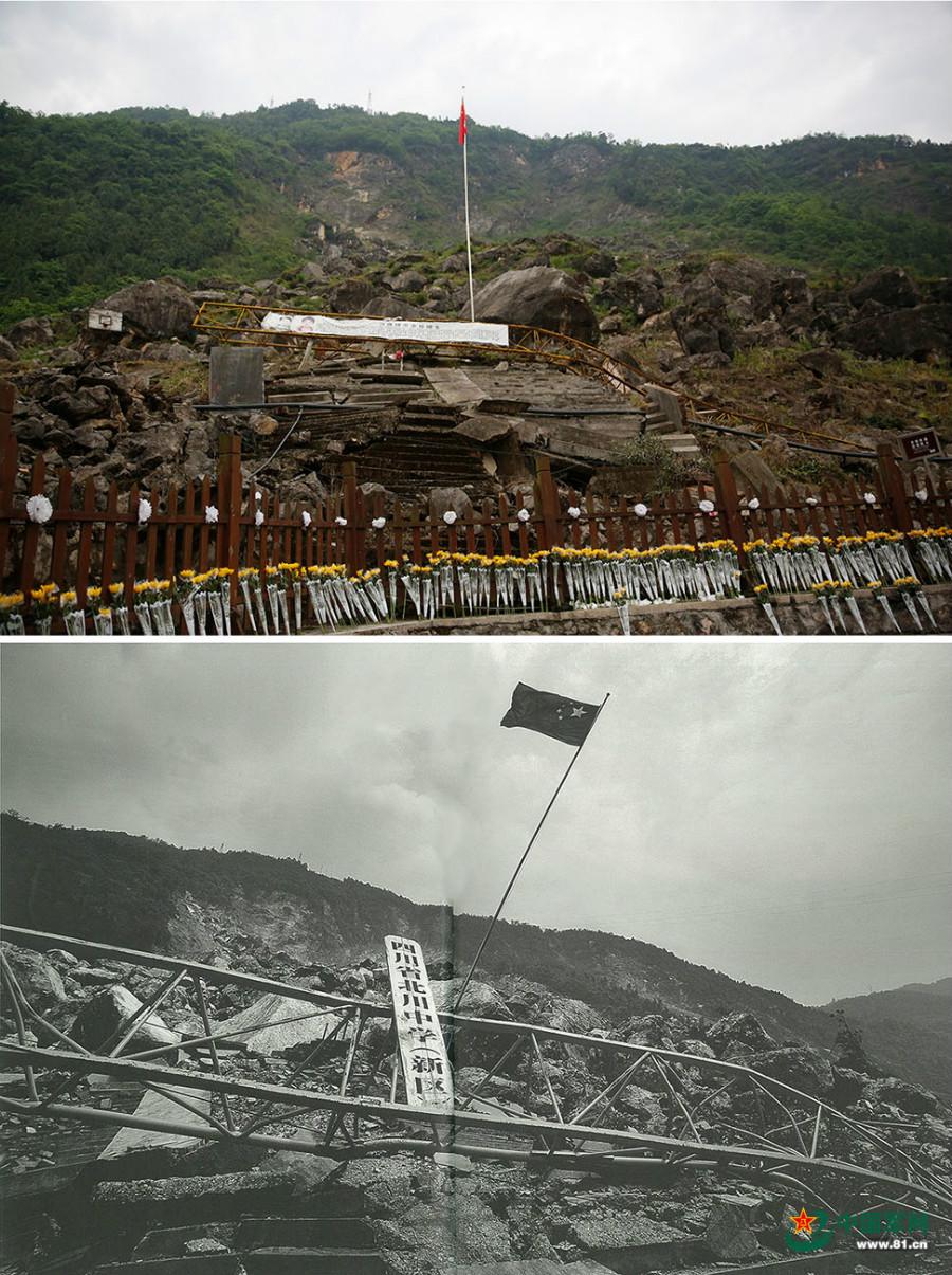 北川中学地震遗址(上图)与震后的北川中学(下图).(拼版照片)图片