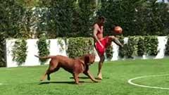 安东内拉INS发视频 梅西与爱犬练球备战新赛季