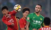 中超:张力建功索里亚诺点球绝平 国安1-1亚泰 国足12-0胜不丹