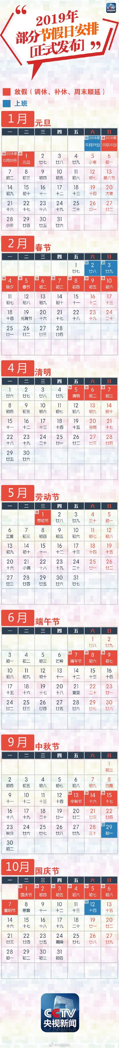 官宣!国办公布2019年放假安排,五一假期才一天!