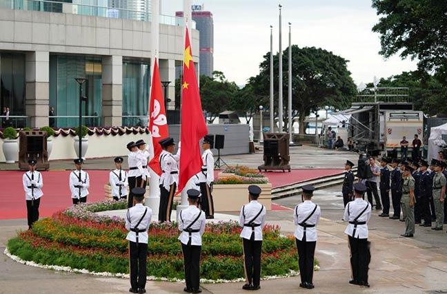香港举行庆祝回归22周年升旗仪式