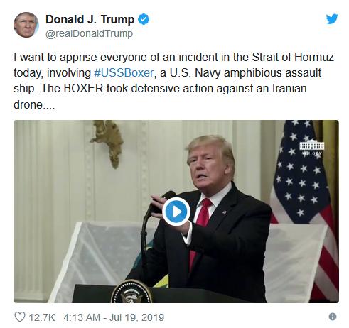 特朗普称美军击落一架伊朗无人机_伊朗外长否认