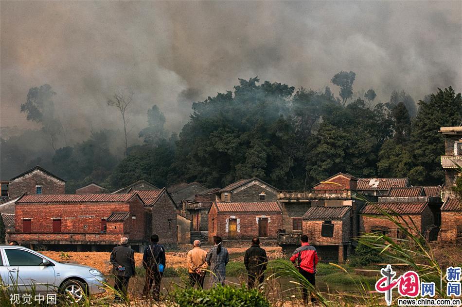 广东佛山高明区山火持续 已开始人员撤离工作