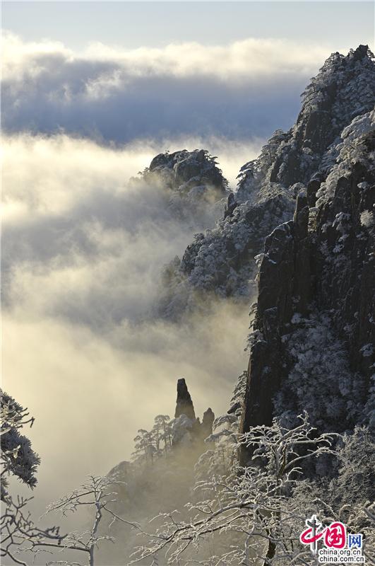 """雾凇云海""""佛光""""奇观同现黄山 游人惊叹不已"""