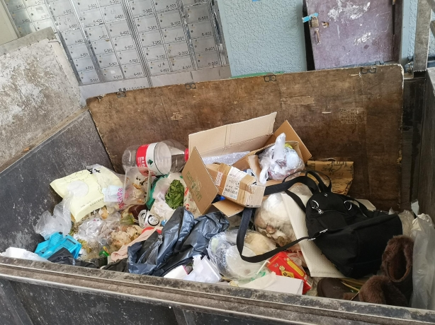 天桥南里社区,垃圾混投现象明显。摄 新京报记者 黄哲程