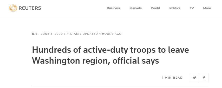 美官员:美军第82空降师士兵将撤离华盛顿附近地区