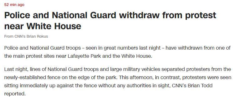 快讯!警察和国民警卫队士兵已撤离白宫附近抗议活动地点