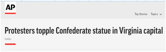 美国内战期间南方将军雕像被示威者推倒,有人泼漆、小便……
