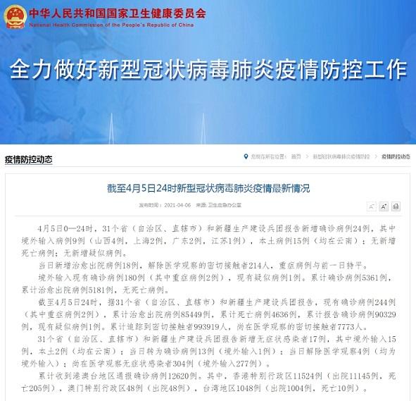 国家卫健委:4月5日新增新冠肺炎确诊病例24例 其中本土病例15例均在云南