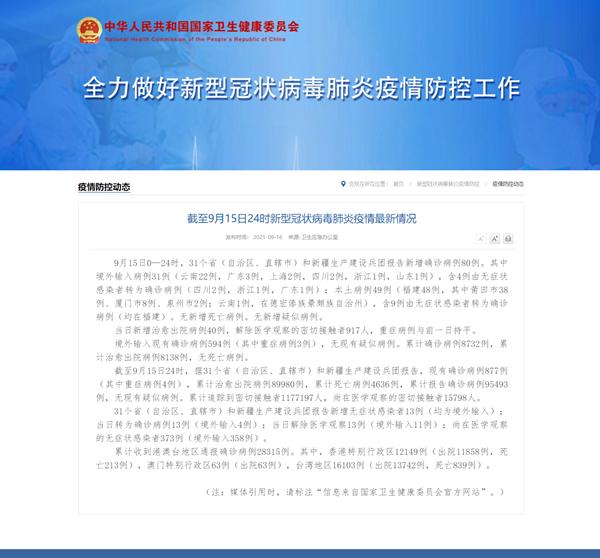 国家卫健委:9月15日新增新冠肺炎确诊病例80例 其中本土病例49例