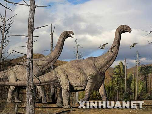 图为汝阳黄河巨龙复原图(摄于7月3日)。 7月3日,河南省国土资源厅召开新闻发布会宣布,经过近两年的努力,地质工作者在河南省汝阳县发现了目前已知亚洲最高、最重、体腔最大的恐龙――汝阳黄河巨龙。中科院古脊椎与古人类研究所专家认为,该恐龙动物的发掘,不仅改写了汝阳盆地一带为新生代早期地层的错误说法,而且在研究巨型蜥脚类恐龙的分布、迁徙、演化方面具有重要的科学价值。