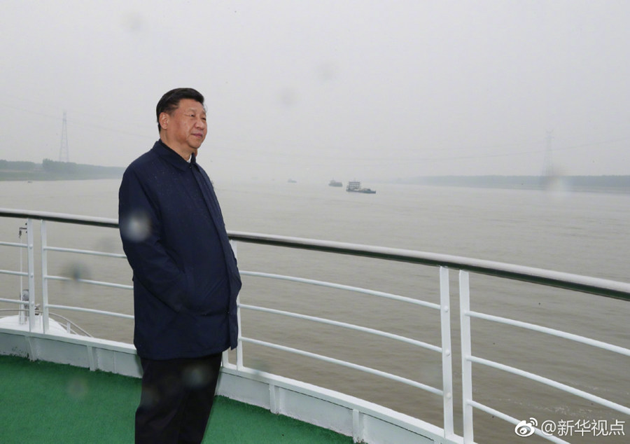 習近平総書記が船で長江視察