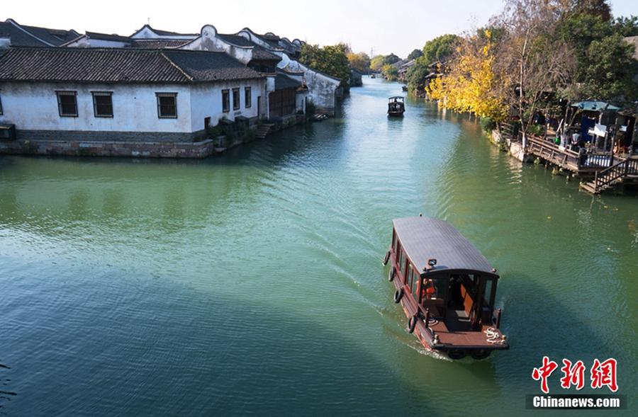 Спокойные зимние пейзажи поселка на воде Учжэня