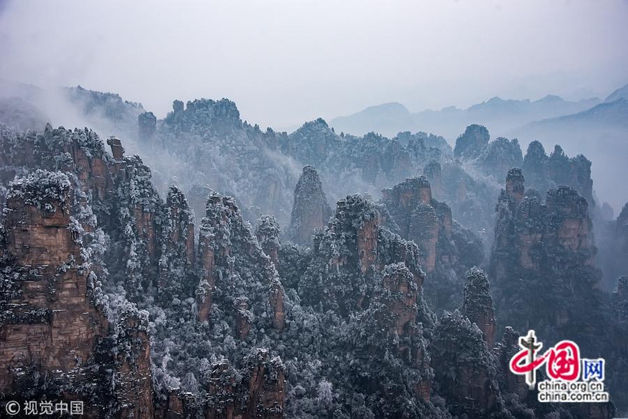 Завораживающие и красивые зимние пейзажи в Чжанцзяцзе, пров.Хунань