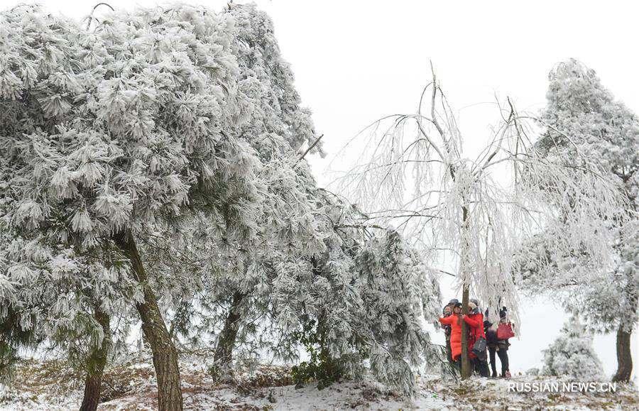 Пейзажи городского округа Гуйян после снегопада