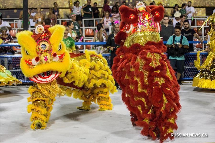 Карнавальное выступление в китайском стиле бразильской школы самбы Imperio Serrano