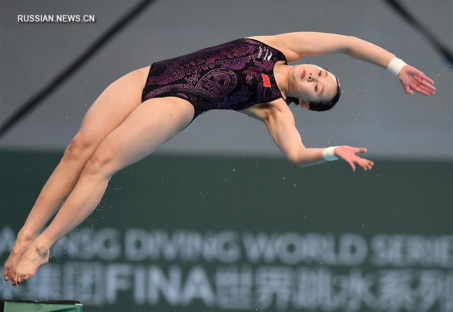 Прыжки в воду -- Пекинский этап Мировой серии: китаянки Чжан Цзяци и Жэнь Цянь выиграли золото и серебро на 10-метровой вышке
