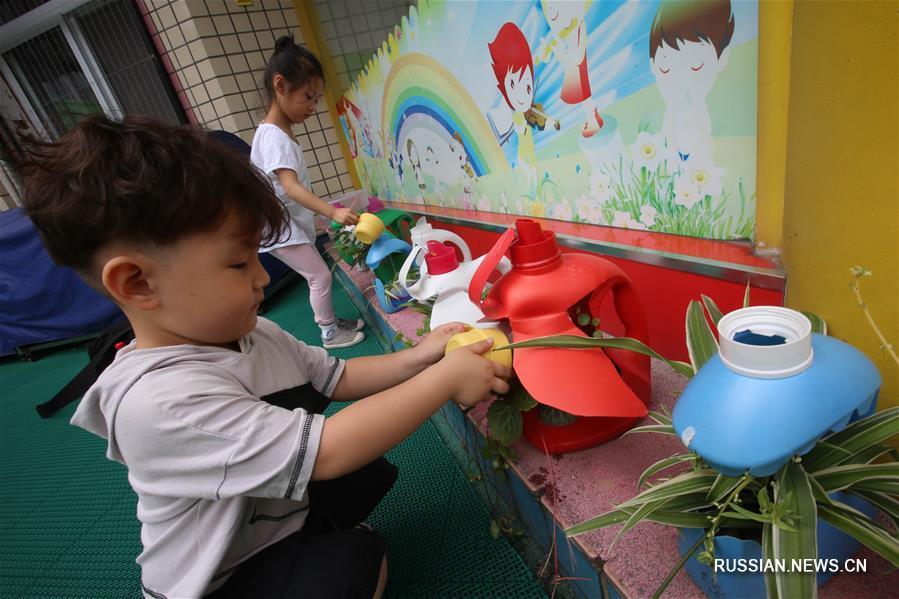Оригинальная утилизация отходов в одном из детсадов Сянъяна