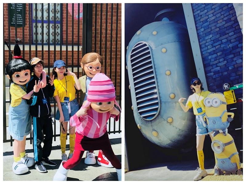 Популярная кинозвезда Цзин Тянь гуляет в парке Юниверсал Студио Голливуд