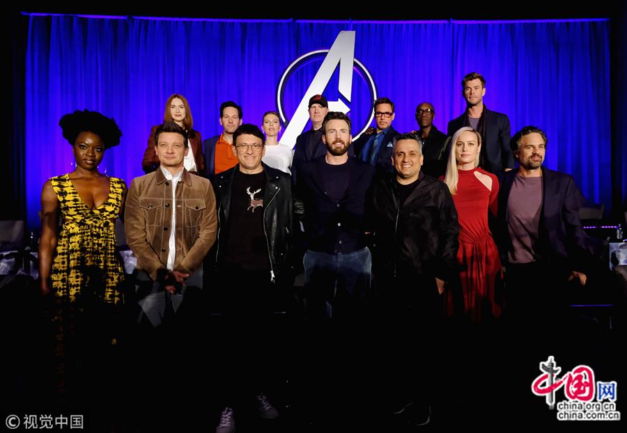 7 апреля 2019 года, Лос-Анджелес, актеры на пресс-конференции, посвященной скорому выходу кинофильма«Мстители: Финал».